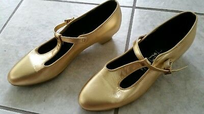 Gold Ballroom Leather T-Strap Swing Dance Shoes Tic-Tac-Toes Sz 7/8 M Low Heel