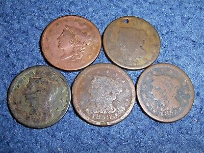 Lot Of 5 Different Large Cent Coins Nice Collection!