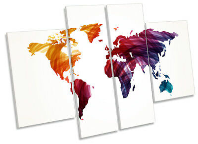 Map of the World Multi Colour Framed CANVAS PRINT Four Panel Wall Art