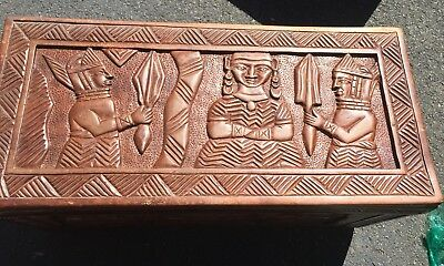 Hand Carved Wood Trunk/storage Chest African?