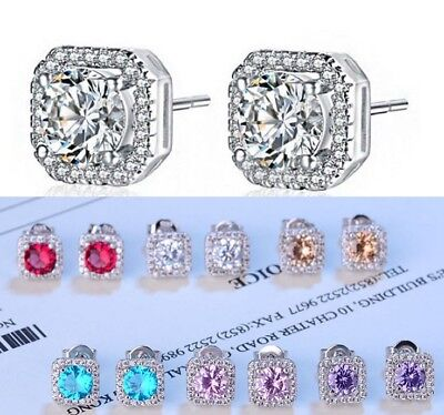 Sterling Silver Pave Cubic Zirconia 8mm Square Stud Earrings Bridal Gift Box S1