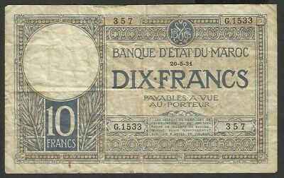 Morocco P 17a - 10 Francs 1931 - in used condition (rb)