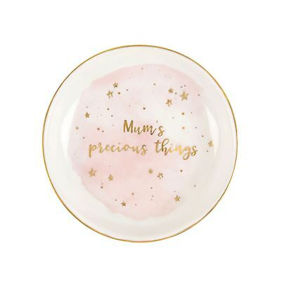New Sass & Belle Mum's Precious Things Stoneware Trinket Dish Pink Watercolour