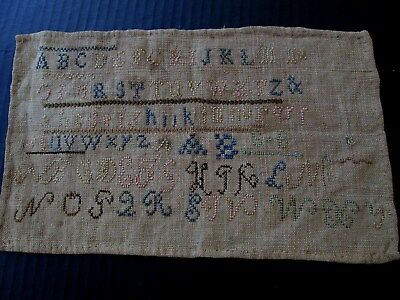 Small Antique Alphabet Sampler On Home Spun Linen...signed Initals S*b