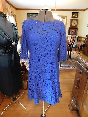 Stunning Bright Blue Lace Mother Of The Bride Or Groom Or Special Occasion Sz12P