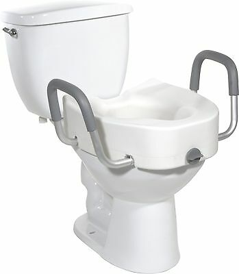 Medical Raised Toilet Seat With Support Arms - Adjustable - Fits Standard Bowl