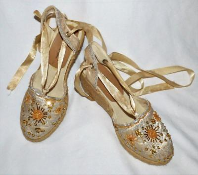 NEW BEIGE SATIN ESPADRILLE 6.5 / 7 gold bead sequin wedge heel shoe BOHO HIPPIE