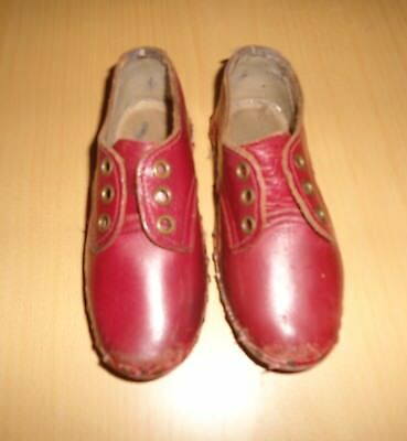 Antique Vintage Red Leather Handmade Childrens Shoes Clogs Wooden Soles 1920'S