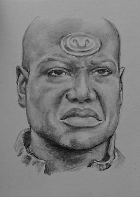 Original ACEO Pencil Sketch Card - Stargate SG-1 Teal'c Christopher Judge