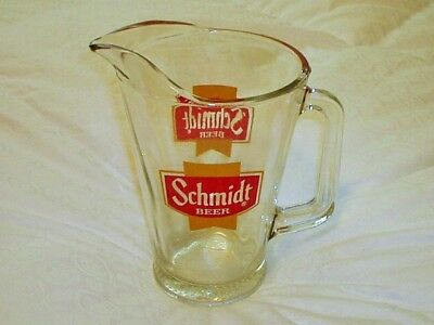 Vintage Schmidt Beer Glass Pitcher Scarcer Gold/Yellow & Red Logo/Shield