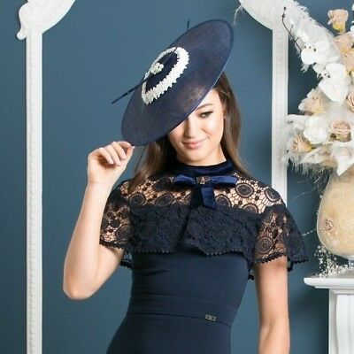 Navy and Pearl Fascinator