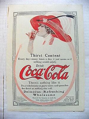 "1912, Magazine ""thirst Content ~ Drink Coca-Cola"" With Woman With Red Hat"