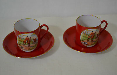 Vintage Crown Victoria Czechoslovakia Equestrian Demitasse Cups With Saucers