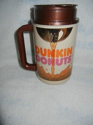Vintage 1970s Plastic DUNKIN' DONUTS Coffee Travel Mug Tumbler Thermo Hot Cold