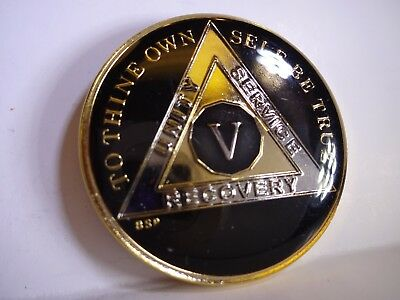 AA BSP Black Gold 5 Year Coin Tri-Plate Alcoholics Anonymous Medallion Top Grade