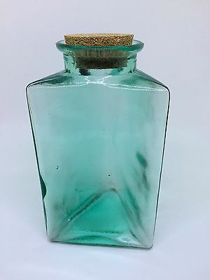 Vintage Triangle Thick Green Tinted Glass APOTHECARY JAR W/Cork Lid