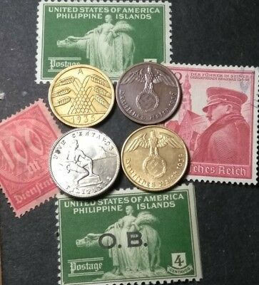 (UNC/BU ERROR coin's) 1935-A  1938 1939 1944 Nazi Philippines coin stamp lot MNH