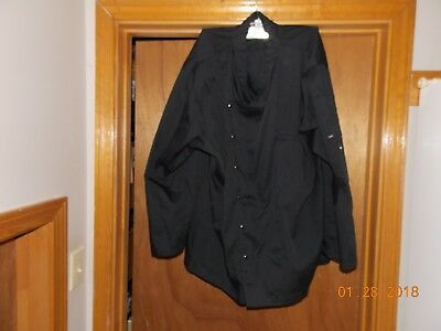 Men's Black Chef's Jacket with Snaps - Size 2 XL