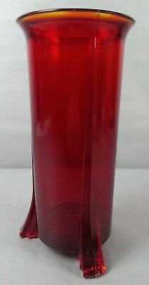 Antique Art Deco Footed Ruby Amberina Red Glass Footed Vase