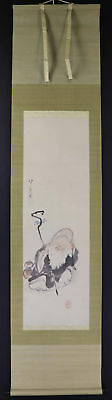 "JAPANESE HANGING SCROLL ART Painting ""Jurojin"" Asian antique  #E1282"