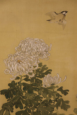 """JAPANESE HANGING SCROLL ART Painting """"Bird and Flower"""" Asian antique  #E1283"""