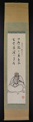 JAPANESE HANGING SCROLL ART Painting Bodhidharma Daruma Asian antique  #E1284
