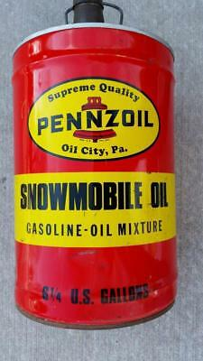 Vintage PENNZOIL 6.25 Ga SNOWMOBILE OIL & GAS CAN ~ NICE CONDITION