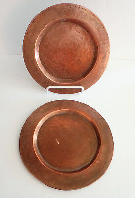 "Pair of Antique Arts-and-Crafts Hand Hammered Mission Copper Plate 8"" Patina"