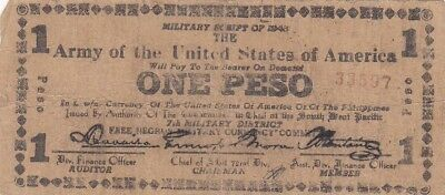 1943 Philippines Negros Army of the USA 1 Peso Military Script Note, Pick S715