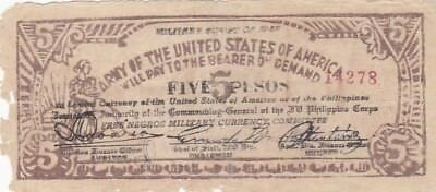 1943 Philippines Negros Army of the USA 5 Pesos Military Script Note, Pick S712