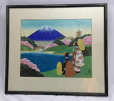 Antique Japanese Landscape Watercolor Painting of Mt. Fuji Signed