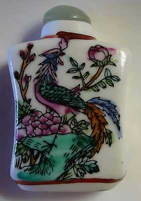 Chinese Bird Snuff Bottle Spoon Vintage Porcelain