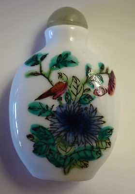 Chinese Bird on Blue Flower Snuff Bottle Spoon Vintage Porcelain