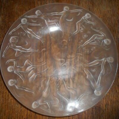 "A Vintage Consolidated Phoenix Glass-8 1/2"" Plate-Frosted Dancing Nude Nymphs"