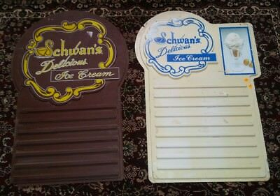 Vtg 2 Schwan's Delivery Dairy Ice Cream Dealer Advertising Sign Lot VERY RARE