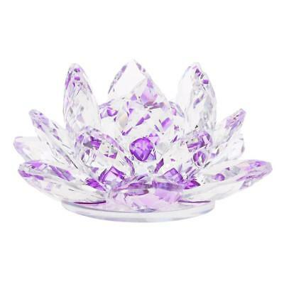 """4"""" Crystal Glass Lotus Flower with Gift Box Feng Shui Ornament Decor Purple"""
