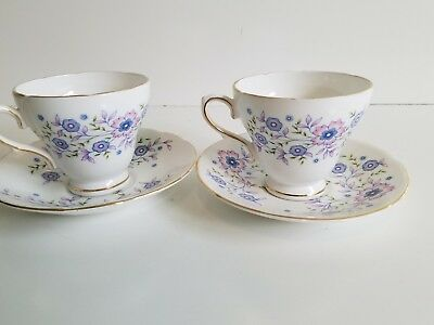Vintage Blue Blossoms Fine Bone China Coffee,Tea Cup and Saucer ~ Lot of 2