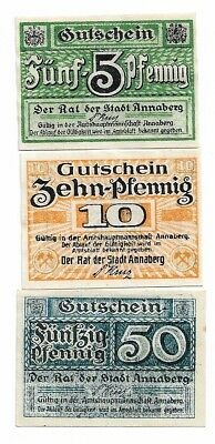 **1920 ANNABERG Germany Banknote- SMALL & COLORFUL ~ Complete German Notgeld Set