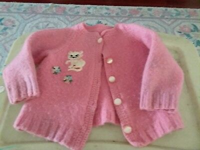 Vtg pink lambswool kids cardigan sweater with kitty cat patch sz 3T