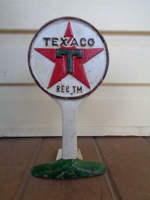Cast Iron Advertising Gas Oil Texaco Sign Doorstop Counter Display Door Stop