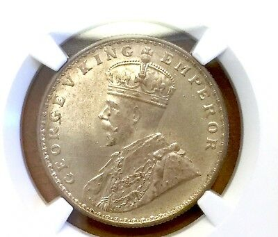 India 1915 B Rupee NGC MS64 Bombay mint scarcer than C -- looks full GEM!