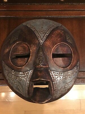 Round Mask - Dark Wood & Metal. Hand-crafted mask
