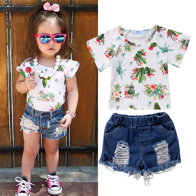 USA Toddler Kids Baby Girls Floral Cereus Tops T-shirt Denim Pants Shorts Outfit