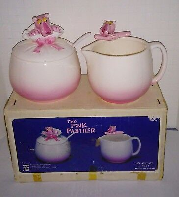 Pink Panther Royal Orleans ceramic cream and sugar set in box 1981