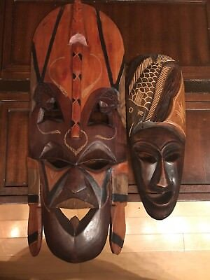 2 African Mask Hand Carved Wood Wall Hanging . One large one small