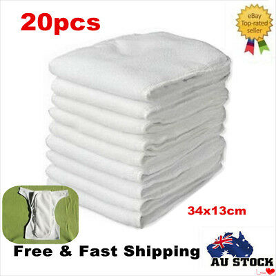 20X Reusable Microfiber Inserts Liner 3 Layers for Modern Cloth Nappy Diaper AU