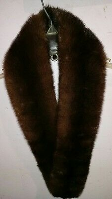 Vintage Dark Chocolate Brown Sheared Mink Fur Collar or Stole with Covered Clips