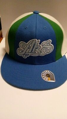 AKDMKS Authentic Fitted Hat - Blue, Green and White - Great Condition - Sz 7 1/2
