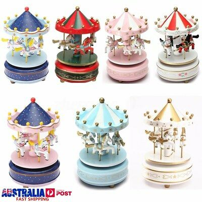 Wooden Horse Musical Carousel Classic Music Box Kids Children Game Xmas Gift Toy