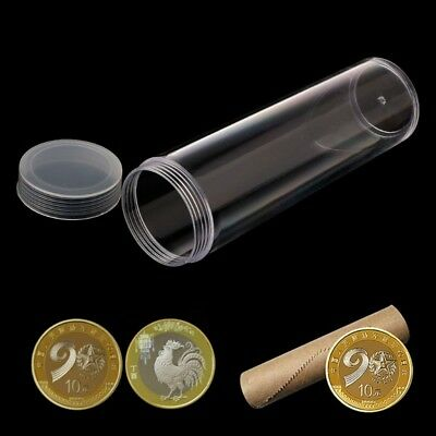 Round Clear Plastic 27mm Coins Applied Storage Protective Tube Holder Case